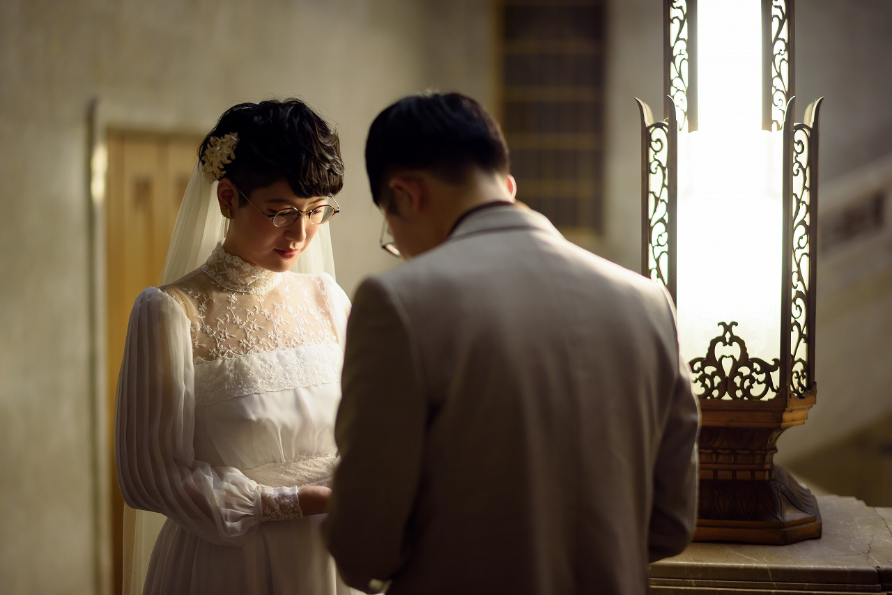 東京国立博物館.洋館,前撮り,フォトウエディング,後撮り,フォト婚,ヴィンテージドレス,めがね花嫁,ベリショ花嫁