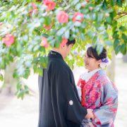 春の前撮り 和装ロケーション撮影(椿、河津桜、菜の花)